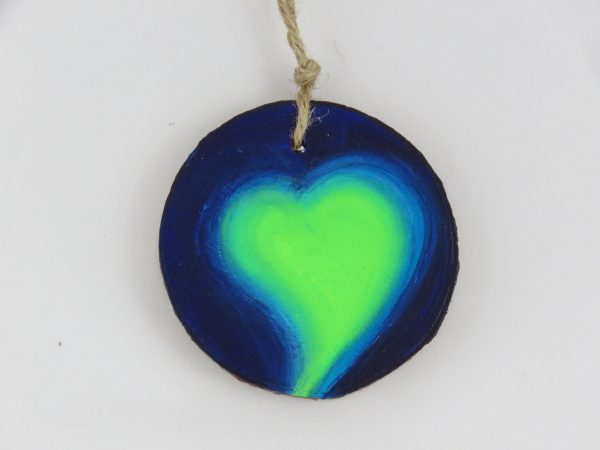 Heart medallion-blue and green