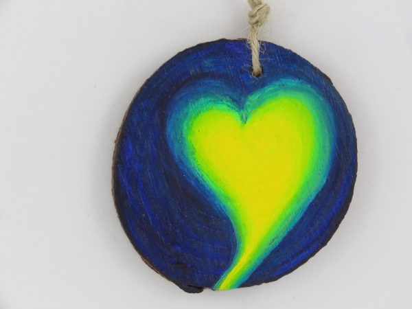 Heart medallion-blue and yellow