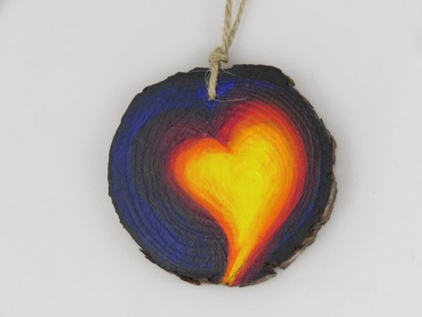 Heart medallion-red and yellow